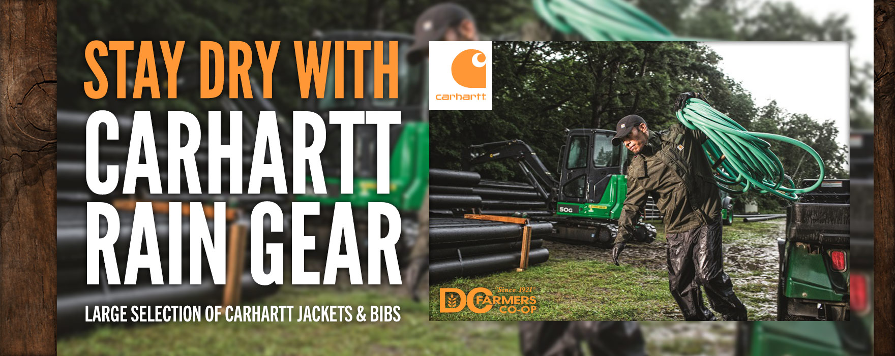 Stay dry with Carhartt Rain Gear.